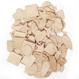 """Wood Shapes, Natural Colored, Assorted Shapes, 0.5"""" to 2"""", 1000 Pieces"""