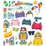 One World Sloth Dress Me for the Weather Bulletin Board Set, Grade PK-2