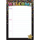 """Smart Poly¬ Chart Black Confetti Welcome, 13"""" x 19"""""""