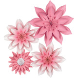 Pink Blossoms Paper Flowers, Pack of 4