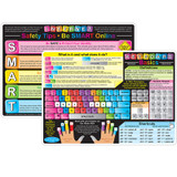 """Smart Poly» Learning Mats, 12"""" x 17"""", Double-Sided, Keyboard Basics & Internet Safety, Pack of 10"""