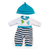 """Doll Clothes, Fits 12-5/8"""" Dolls, Cold Weather Turquoise Pajamas"""