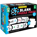 Write-On/Wipe-Off: 52 Blank Puzzle Pieces Manipulatives - Early Childhood