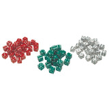 Red, Green & White Dot Dice, 36 count