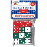 Red, Green & White Dot Dice