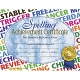 """Spelling Achievement Certificate, 8.5"""" x 11"""", Pack of 30"""