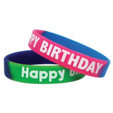 Fancy Happy Birthday Two-Toned Wristband Pack, Pack of 10