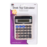 Desktop Calculator, Battery and Solar Powered with Tilted 9 Digit Display, Gray