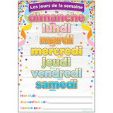 """Smart Poly» French Immersion Chart, 13"""" x 19"""", Confetti, Les jours de la semaine (Days of the Week)"""
