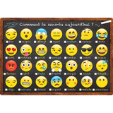 """Smart Poly» French Immersion Chart, 13"""" x 19"""", Emoji, Comment te sens-tu aujourd'hui ? (How Are You Feeling Today?)"""