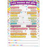 """Smart Poly» Spanish Chart, 13"""" x 19"""", Confetti, Los meses del a–o (Months of the Year)"""