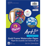 """Art1st¨ Gold Frame Watercolor Paper, Gold Frame, 9"""" x 12"""", 30 Sheets"""