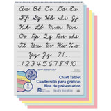 """Colored Paper Chart Tablet, Cursive Cover, Asst, 1"""" Ruled. 24"""" x 32"""", 25 Sheets"""