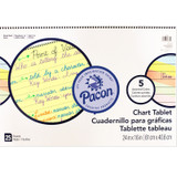 """Colored Paper Chart Tablet, Cursive Cover, 5 Assorted Colors, 1"""" Ruled. 24"""" x 16"""", 25 Sheets"""