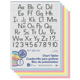 """Colored Paper Chart Tablet, Manuscript Cover, 5 Assorted Colors, 1-1/2"""" Ruled. 24"""" x 32"""", 25 Sheets"""