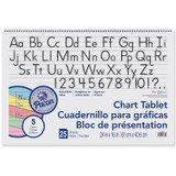 """Colored Paper Chart Tablet, Manuscript Cover, 5 Assorted Colors, 1-1/2"""" Ruled. 24"""" x 16"""", 25 Sheets"""