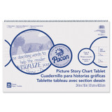 """Picture Story Chart Tablet, White, Ruled Long, 1-1/2"""" Ruled, 24"""" x 16"""", 25 Sheets"""