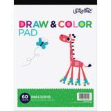 """Draw & Color Pad, White, 9"""" x 12"""", 60 Sheets"""