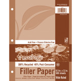 """Recycled Filler Paper, White, 3-Hole Punched, 3/8"""" Ruled w/ Margin 8-1/2"""" x 11"""", 500 Sheets"""