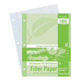 """Recycled Filler Paper, White, 3-Hole Punched, 9/32"""" Ruled w/ Margin 8-1/2"""" x 11"""", 150 Sheets"""