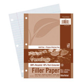 """Recycled Filler Paper, White, 3-Hole Punched, 3/8"""" Ruled w/ Margin 8"""" x 10-1/2"""", 150 Sheets"""