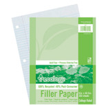 """Recycled Filler Paper, White, 3-Hole Punched, 9/32"""" Ruled w/ Margin 8"""" x 10-1/2"""", 150 Sheets"""