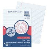 """Filler Paper, White, 3-Hole Punched, Red Margin, 3/8"""" Ruled, 8"""" x 10-1/2"""", 150 Sheets"""