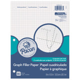 """Graphing Paper, White, 3-Hole Punched, 1/4"""" Quadrille Ruled, 8"""" x 10-1/2"""", 80 Sheets"""