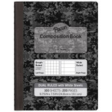 """Dual Ruled Composition Book, Dark Gray, 1/4"""" Grid & 3/8"""" Wide Ruled, 9-3/4"""" x 7-1/2"""", 100 Sheets"""