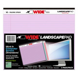 Legal Pad, Landscape, Assorted 3-Pack, Orchid/Blue/Pink