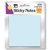 """Sticky Notes - 3"""" x 3"""" - Assorted Pastel, 4 Pads of 50 Sheets"""