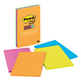 Super Sticky Notes, 4 x 6, Rio de Janeiro Collection, Lined, 4 Pads/Pack