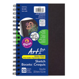 """Art1st¨ Create Your Own Cover Sketch Diary, Black Chip Cover, 9"""" x 6"""", 50 Sheets"""