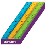 """Ruler - Plastic - 12"""" - Flat - UPC Coded - Translucent Assorted Colors, 36 Each/Shelf Tray"""