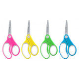 """Soft Handle 5"""" Kids Scissors Classpack, Pointed, Pack of 12"""