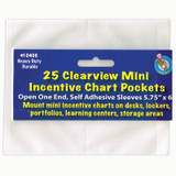 """Clear View Self-Adhesive Mini Incentive Chart Pocket 6"""" x 7"""", Pack of 25"""