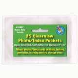"""Clear View Self-Adhesive Photo/Index Card Pocket 4"""" x 6"""", Pack of 25"""