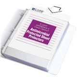 Heavyweight Poly Sheet Protectors with Antimicrobial Protection, Clear, Top Loading, 11 x 8-1/2, Box of 100