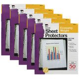 Sheet Protectors, Economy Weight, Letter Size, Clear, 50 Per Box, 5 Boxes