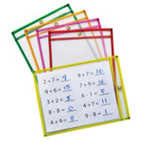 """Dry Erase Pockets, 5 Assorted Neon Colors, 9"""" x 12"""", 25 Pockets"""