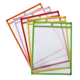"""Dry Erase Pockets, 5 Assorted Bright Colors, 9"""" x 12"""", 25 Pockets"""