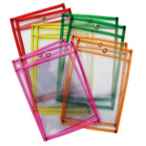"""Dry Erase Pockets, 5 Assorted Neon Colors, 6"""" x 9"""", 10 Pockets"""