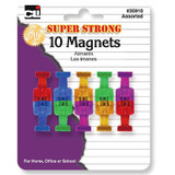 Magnets - Push Pin Style, Super Strong - Assorted Colors - 10/Cd