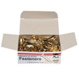 Fasteners, Round Head, Brass Plated, 1 Inch Shank, 10 mm Head, Box of 100