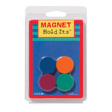 """Eight 1"""" ceramic disc magnets, assorted colors."""