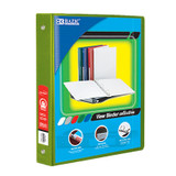 """BAZIC¬ 3-Ring View Binder with 2 Pockets, 1"""", Lime Green"""