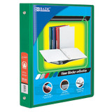 """BAZIC¬ 3-Ring View Binder with 2 Pockets, 1.5"""", Green"""