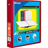 """BAZIC¬ 3-Ring View Binder with 2 Pockets, 1.5"""", Red"""