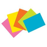 """Index Cards, 5 Super Bright Assorted Colors, Unruled, 4"""" x 6"""", 100 Cards"""