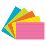 """Index Cards, 5 Super Bright Assorted Colors, Ruled, 1/4"""" 3"""" x 5"""", 75 Cards"""